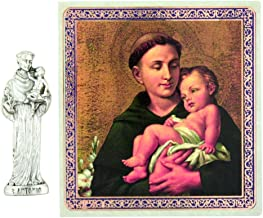 Ambrosiana Patron Saint Anthony of Padua Pocket Statue and Prayer Card, 1 1/2 Inches