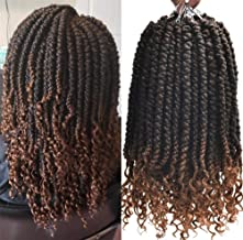 Bomb Twist Crochet Hair Nubian Twist Curly Ends Passion Twist Crochet Braiding Hair(12inch,#1B/30,8pcs)