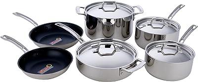 MIU France 10-Piece 5-Ply Clad Cookware Set, Silver