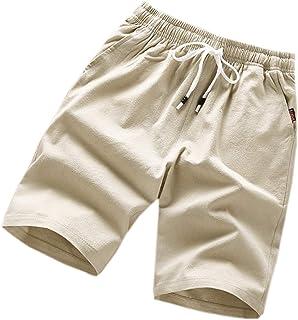 Elonglin Men's Summer Casual Shorts Outdoor Lightweight Beach Shorts Elastic Waist Drawstring Workout Shorts with Pockets