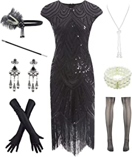 Women 1920s Vintage Flapper Fringe Beaded Gatsby Party...