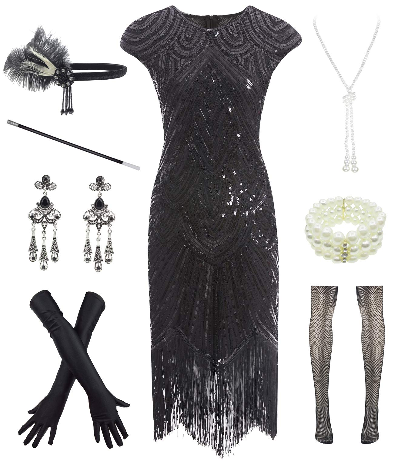 Party Dresses - Women 1920s Vintage Flapper Fringe Beaded Gatsby Party Dress With 20s Accessories Set