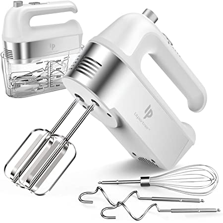 Hand Mixer Electric, 450W Kitchen Mixers with Scale Cup Storage Case , Turbo Boost / Self-Control Speed + 5 Speed + Eject Button + 5 Stainless Steel Accessories , For Easy Whipping Dough ,Cream ,Cake