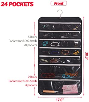DIOMMELL Hanging Jewelry Organizer 47 Pockets with Zipper for Earrings Necklace Bracelet Ring Accessory Display Stora...