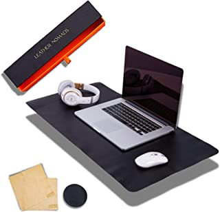 Leather Desk Pad by Leather Nomads - with Coaster and Lens Wipe, 31.5 Inch x 15.7 inch, Black   Premium Quality Hand Made ...