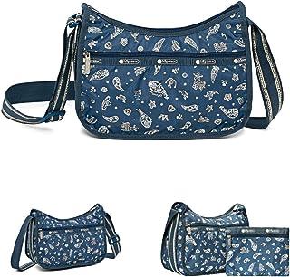LeSportsac Fiesta Blue Classic Hobo Crossbody Handbag + Cosmetic Bag, Style 7520/Color F098, 2 Tone Strap