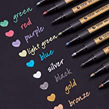 Dyvicl Metallic Markers Paint Marker Pens - Medium Point Metallic Permanent Markers for Rock Painting, Black Paper, Gift Card Making, Scrapbooking, Fabric, Metal, Ceramics, Wine Glass, Set of 9