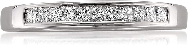 14k White Gold Princess-cut Diamond 11-stone Bridal Wedding Band Ring (1/4 cttw, J-K, SI1-SI2)