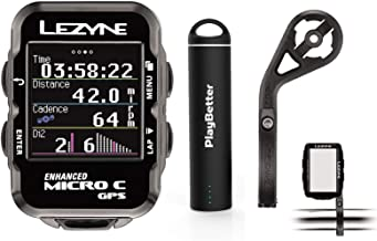 Lezyne Micro C Bike GPS Computer Bundle | with Out-Front Mount & PlayBetter Portable Charger | Lightweight, Vibrant Color Screen | Cycling GPS Computer