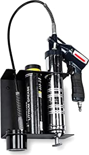 Koova Grease Gun Storage Holder - Heavy Duty Wall Mount - Store Your Grease Gun & Spare Cartridge - Removable Drip Cup Keeps Grease Off The Floor - Made in The USA - Heavy Gauge Powder Coated Steel