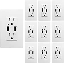 Outlet with USB High Speed Charger 4.2A Charging Capability, Child Proof Safety Duplex Receptacle 15 Amp, Tamper Resistant Wall socket plate Included UL Listed MICMI U24 (4.2A 10pack)