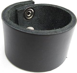 Biker Wristband Black Topgrain Leather 1 1/2