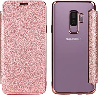 Galaxy S9 Plus Wallet Case - Clear Case,Feimeng Glitter Sparkly Bling Shiny Slim PU Leather Folio Flip Case with Card Slot & Clear Soft TPU Back Cover for Samsung Galaxy S9 Plus(2018) (Rose Gold)