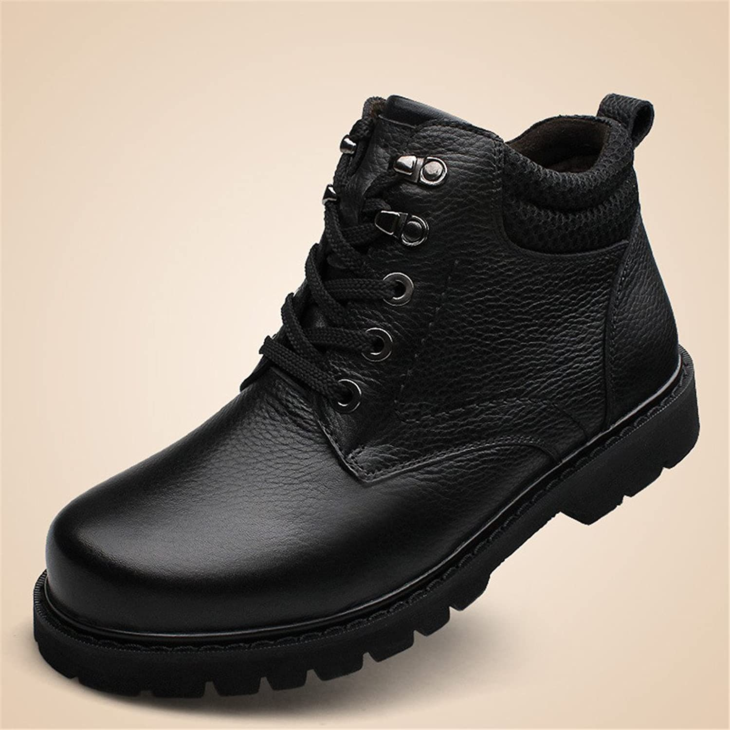 ZQ@QXFall and winter warm wear casual men's leather men's leather Martin boots