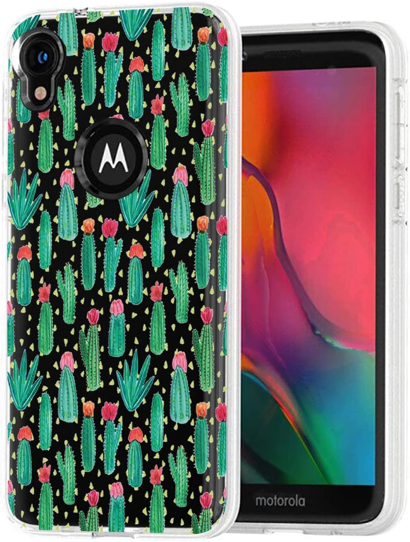 Topeiye Flowers Clear Slim Designed for Moto E6 Case, Shock-Absorption Floral Flexible Soft TPU Protective Case Cover for Motorola Moto E6 (Cactus)