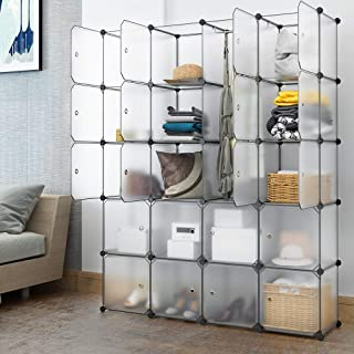 Lukzer 20 Cube Doors Shelving Plastic Clothes Storage Wardrobe Closet Home Bedroom Hallway Décor/DIY Modular Cabinet Organizer for Storing Bags, Toys, Books, Shoes