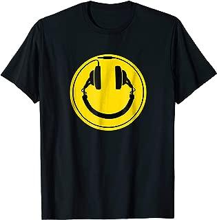 Headphones smiley DJ dance house rave music tee shirt