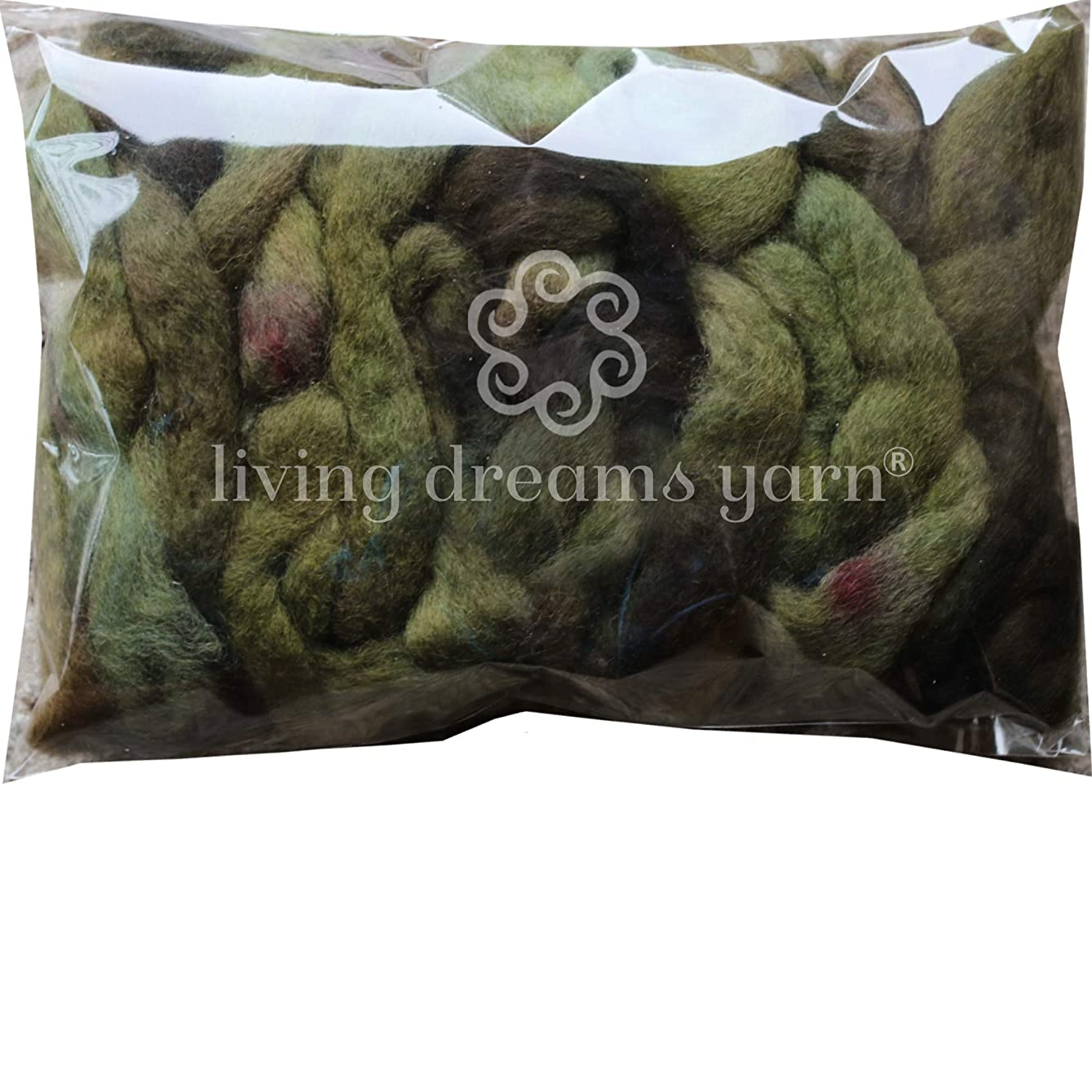 Wool Roving Hand Dyed. Super Soft BFL Combed Top Pre-Drafted for Easy Hand Spinning. Artisanal Craft Fiber ideal for Felting, Weaving, Wall Hangings and Embellishments. 1 Ounce. Bronze Green yrjxwn568676