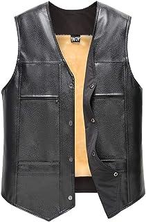 Men's Fashion Faux Leather Vest Sleeveless Zipper Belted Biker Waistcoat Jacket Coat