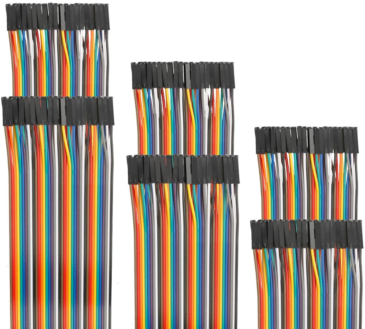 EDGELEC 120pcs 10cm Dupont Wire Female to Female Breadboard Jumper Wires 3.9 inch 1pin-1pin 2.54mm Connector Multicolored Ribbon Cables DIY Wires Length 10 15 20 30 40 50 100cm Optional