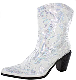 Women's Sparkle Sequin Bling Short Western Cowgirl Boots Assorted Colors LB-0290-11