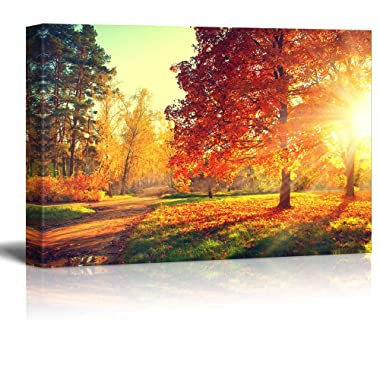 wall26 - Autumn Scene Fall - Canvas Art Wall Art - 16  x 24