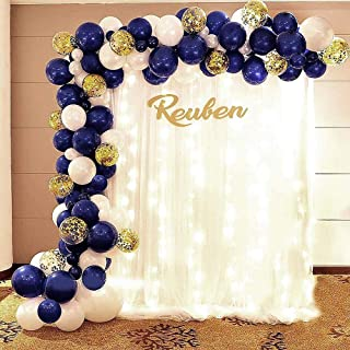 """Party Balloons Set of 109,5""""/10""""12"""" Gold Confetti Latex Balloons, DoRiper White,Baby Blue,Royal Blue Balloons and Tools fo..."""