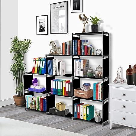 THOS Simple Bookshelf/Multipurpose Rack/Children Bookcases/File Rack for Office/Storage Organizer/Cabinet Shelves for Bedroom Office Living Room (12 Layer, Black)