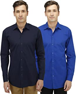 Super Weston Plain Blue and Navy Casual Shirts For Men's For Summers