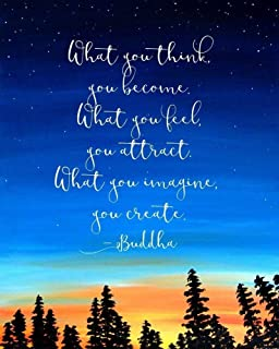 What You Think You Become Buddha Quote Inspirational Wall Art Print 8x10 Inch