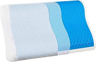 Cooling Pillow for Side Sleeper-Relieve Neck Pain with Washable Zippered Soft Cover,Extra Replacement Hypoallergenic Cover-Standard Size