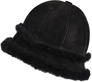 b52b7d88a55ba6 Zavelio Women's Shearling Sheepskin Winter Fur Bucket Beanie Hat