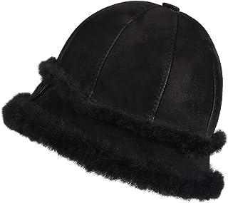 Zavelio Women's Shearling Sheepskin Winter Fur Bucket Beanie Hat