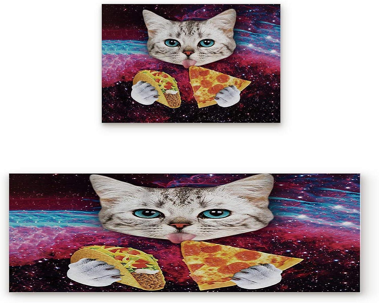 KAROLA 2 Piece Non-Slip Kitchen Mat Doormat Runner Rug Set Thin Low Pile Indoor Area Rugs Cat Eating Pizza 19.7 x31.5 +19.7 x47.2