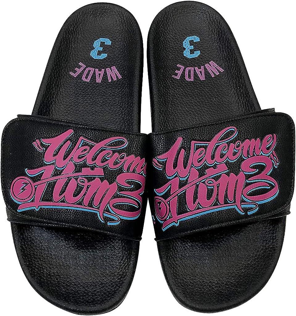 Athletic Adjustable Slide Sandals with Velcro Lightweight Comfort Slip On Sport Slippers-Men (Black Welcome home, numeric_5)
