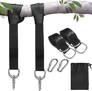 Sangles de suspension pour balançoire d'arbre, balançoires en corde pour arbre, kit de suspension avec mousquetons de sécu...