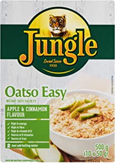 Jungle Oatso Easy Apple & Cinnamon Flavour Cereals, 50 g (Pack of 10)