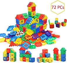 AdiChai Multi Colored 72 Pcs Mega Jumbo Happy Home House Building Blocks with Attractive Windows and Smooth Rounded Edges ...