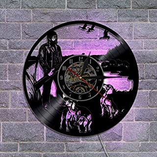 常夜灯リモコンビニールレコード壁掛け時計 クリエイティブウォールデコレーションギフト 30cm,B
