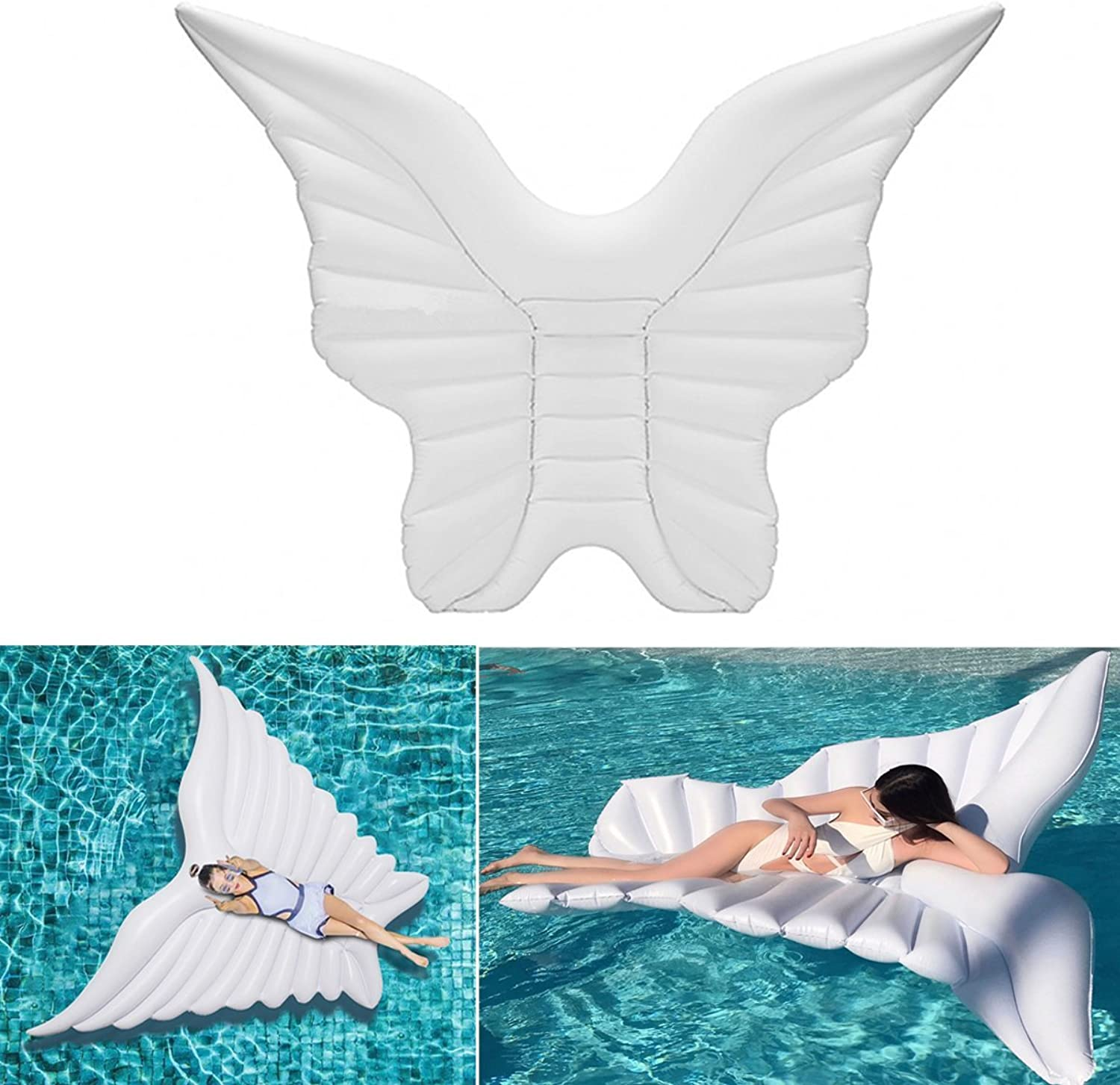 GEOPONICS Angel Wings Water Float Raft Sing Pool Beach Lounger Toy