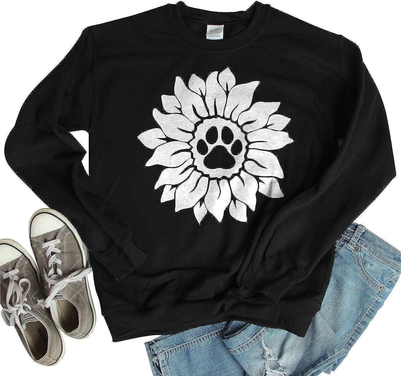 Dog Trust Paw Sunflower Unisex Crewneck Max 77% OFF Casua Sleeve Sweatshirt Long