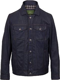Elvis: Men's Blue Denim Style Leather Jacket
