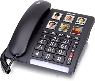 Switel TF540 grote toetsen telefoon, snoergebonden, zes programmeerbare fototoetsen, extra luide beltoon, compatibel met h...