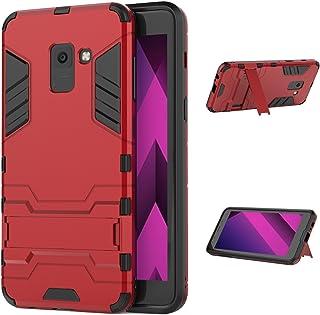 Funda Samsung Galaxy A8 2018, Fundas 2in1 Dual Layer Anti-shock 360° Full Body Protección TPU Silicona Gel Bumper y Duro PC Armadura con Soporte y Desmontable Carcasa para Samsung Galaxy A8 2018, Rojo