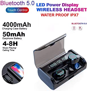 2020 Newest Dual Digital Display Bluetooth 5.0 Earbuds 4000mAh Charging Case 180H Playtime IPX7 Waterproof 9D Surround Ste...