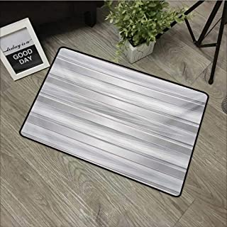 Corridor door mat W24 x L35 INCH Modern,Trippy Stripes with Wooden Zig Zag Effects Party Elements Featured Image Print,Silver Grey Natural dye printing to protect your baby's skin Non-slip Door Mat Ca