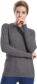 Women's Crew Neck Cable Knit Long Sleeve Tunic Sweater