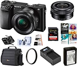 Sony Alpha a6000 Mirrorless Digital Camera 24.3MP SLR Camera (Black) w/16-50mm Power Zoom Lens   Cam Bag + Extra Battery + Base Charger + 32 GB SD Card + Memory Wallet + PC Software + UV Filter & More