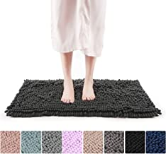 "Freshmint Chenille Bath Rugs Extra Soft Fluffy and Absorbent Microfiber Shag Rug, Non-Slip Runner Carpet for Tub Bathroom Shower Mat, Machine-Washable Durable Thick Area Rugs (16.5"" x 24"", Black)"