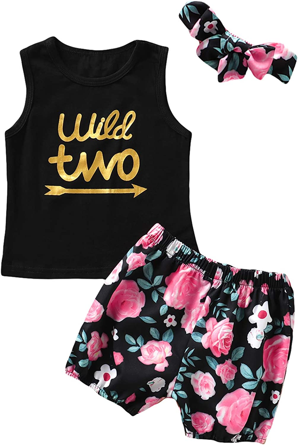 Little Girls Floral Outfit Set Wild Two Vest Short Set with Headband
